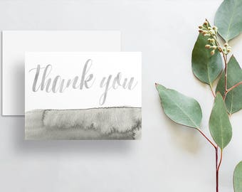 Watercolor Calligraphy Thank You Cards / Light Gray Slate Gray Watercolor / Thank You Notes / Printed Folded Thank You Cards