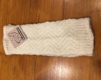 US Made Alpaca Zig Zag Wrist Warmers, White
