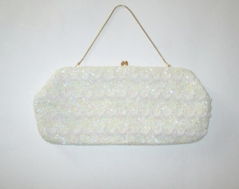 Vintage 1950s 1960s Ivory Sequin Beaded Purse / 50s 60s Large Beaded Sequin Clutch Purse - Made In British Hong Kong