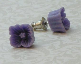 Square Flower Earrings - Periwinkle Purple