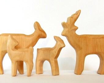 Deer Family, Herd of Deer, Wooden animals, Waldorf Toys