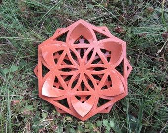 Small terracotta flower mandala, natural color with transparent glaze