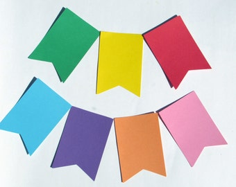 """Flag Pennant die cuts/ banner die cuts/straight edge pennant/ size from 1.5"""" to 8"""" tall/ chose your color"""