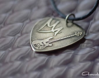 Men's guitar pick necklace, personalized guitar pick jewelry