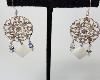Earrings White Mother-of-Pearl & Silver Filigree