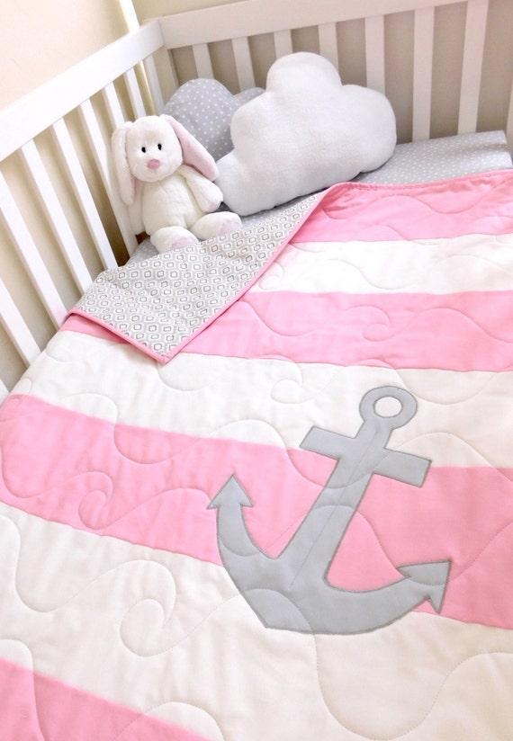 Baby Nash S Vintage Nautical Nursery: Baby Girl Nautical Quilt Nautical Girl Crib Bedding Pink