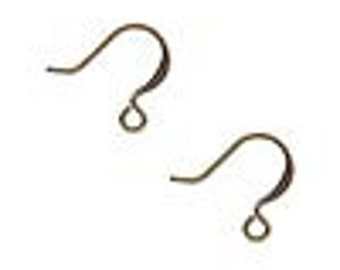 50 Antiqued Gold-plated earwires, 16mm flat fishook with open loop, 21 gauge.