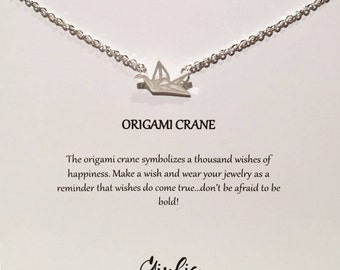 Origami crane necklace dainty necklace, everyday, simple, birthday gift, gift for women - Bird necklace - bird charm - Charm necklace Charm