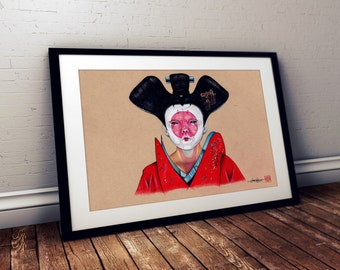 Ghost in the Shell - Geisha Cyborg - Illustrated Giclee Print