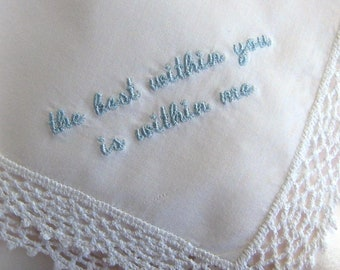 2ND CORNER EMBROIDERY, To be Added To Custom Handkerchief Order - Does NOT Include Handkerchief, One to Four lines of text, Custom Option