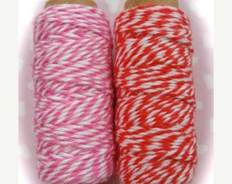 ONSALE Valentine Lot of  Bakers Twine Red and Pink Stripe Spools