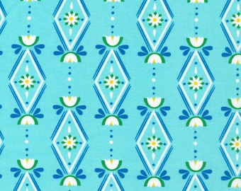 Lotus Pond Diamonds are Forever in Blue, Rae Hoekstra, 100% GOTS-Certified Organic Cotton, Cloud9 Fabrics