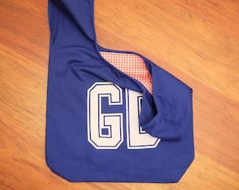 Royal blue netball bib bag reversible - unique netball team gift, gift for mum or bridesmaid - shopping bag, bookbag – custom available
