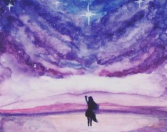 Reach For The Stars Watercolour Print