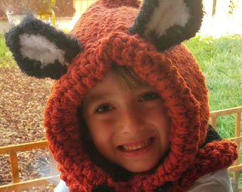 Fox Hat, fox hood, fox Cowl, baby, child and adult. aged 3 months to adult. Hand Made to order! Gift wrap now available.