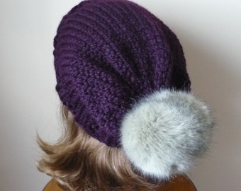 Knit Slouch Hat Faux Fur Pompom Warm Wool Blend Winter Hat in Eggplant  with Grey Lynx Cat Pompom - Ready to Ship - Gift for Her