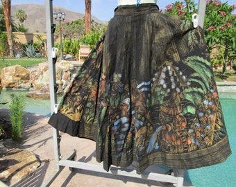 "Vintage 1950s 50s Mexican handpainted full circle skirt unique S/M 26-28"" waist cotton pockets"