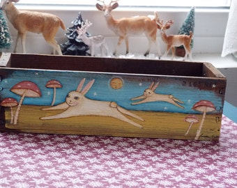vintage cheese box with original  rabbits  and pink mushrooms painting