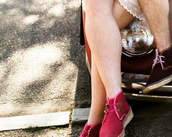 POPPY RED ASPAS | Handmade Vegan Espadrille Chukka Boots for Women