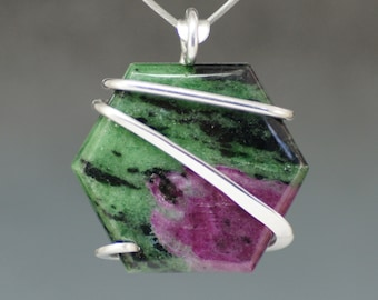 Ruby Zoisite Hexagon Cold Forged Sterling Silver Pendant