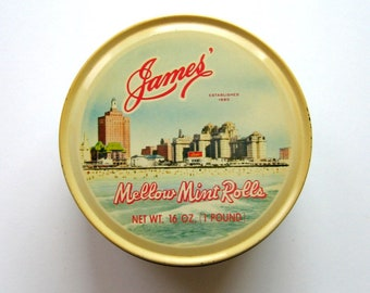 Vintage Tin - James' Candy Tin - Mellow Mint Rolls Tin, Candy tin, Covered tin, Metal tin, Metal container, Round tin, Storage, Kitchen tin