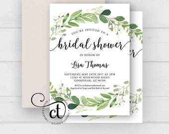 Bridal shower invite etsy greenery bridal shower invitation garden bridal shower bridal shower invitation with greenery boho filmwisefo Image collections