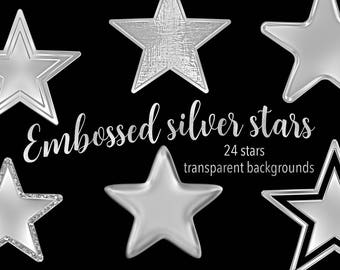 Embossed Silver Stars Clipart Set, PNG, Transparent Backgrounds, Scrapbooking, Card Making, Collage Making, Personal and Commercial Use