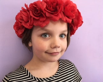 Red rose crown, Flower Crown, Day of the Dead, Dia de los muertos, Soft floral crown, Halloween Costume Accessories, Girl Gift, Hair wreath