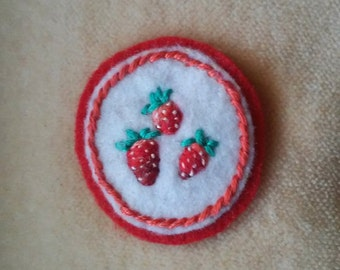 Strawberry Trio Badge (Patch, Pin, Brooch, or Magnet)