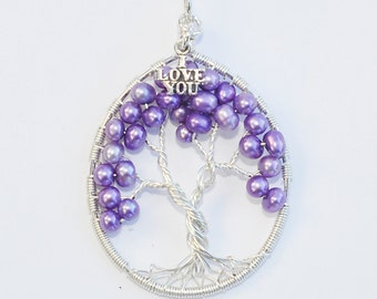 Tree Of Life Pendent - Orchard Semi Round Fresh Water Pearls