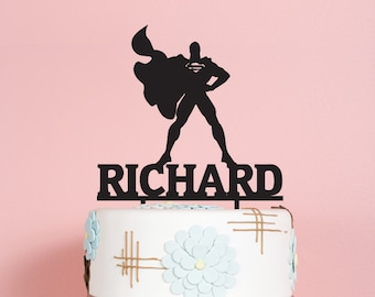 Superman with Name Birthday Cake Topper