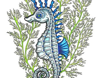 Blue Sea Horse Hiding in Green Aquatic Plant - Art Print - Watercolor Painting
