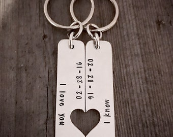 Valentines Day, Couples Key Chain, Hand Stamped, Anniversary, Key Chain Set, Personalized Jewelry, Heart Key Chain, Date, Couples Gift,