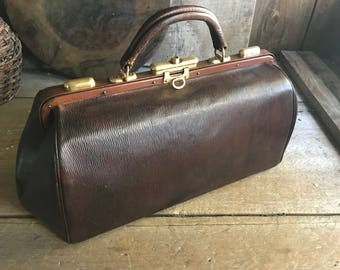 Antique French Gladstone Bag, Doctors Bag, Dark Brown Leather, Polished Brass
