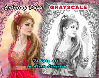 Coloring Page, Grayscale illustration  Fantasy woman
