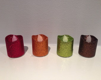 Glitter Votive LED Flameless Candle - Fall Votive Candle - Harvest Colors - Glitter Votive - Fall Decor - Fall Candle - Fall Decoration