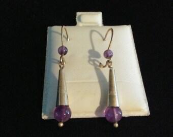 Handmade sterling .925 Amethyst Bead Drop Earring