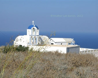 Greece Photography - Church On A Hill - Santorini - Wall Decor - Mediterranean Fine Art Print
