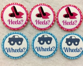 Personalized Set of 50/100/150/200 Gender Reveal Heels or Wheels Baby Shower  1 Inch Confetti Circles