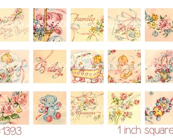 """Digital Clipart, instant download, baby clip art, printable collage sheet, baby girl, 1 inch squares, digital collage sheet, 4by6"""" 1393"""
