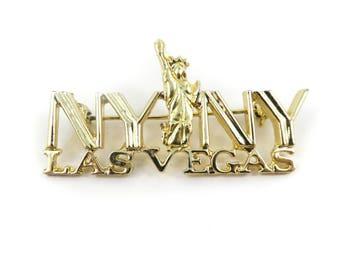Vintage, New York New York, Las Vegas Brooch, Gold Tone, STJ69