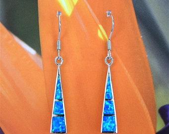 Opal Earring, Hawaii Jewelry, Sterling Silver Blue Opal Inlay Dangle Earring, Hawaiian Jewelry, E4183