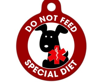 Pet ID Tag - Do Not Feed - Special Diet Medical ID Tag - Medical Alert Tag, Pet Tag, Child ID Tag, Dog Tag, Cat Tag