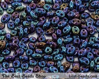 25g (430pcs) Jet Iris Blue Twin Double Hole Oval Preciosa Czech Glass Seed Beads 5x2.5mm