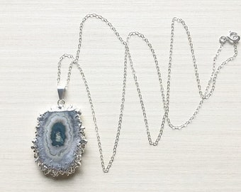 Amethyst Stalactite Slice & Sterling Silver Chain Necklace // Amethyst Necklace // Stalactite Necklace // Silver Necklace