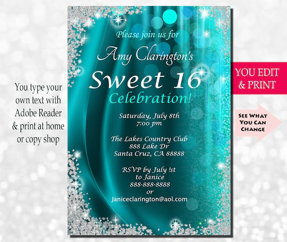 Sweet sixteen invitation sweet sixteen party invitation solutioingenieria Choice Image