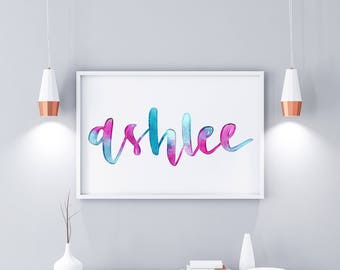Watercolour Name print - printsble wall art