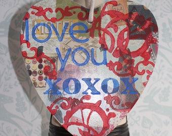 Heart plaque - wooden heart - wall hanging - decoupaged heart plaque.