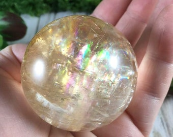 Gorgeous Optical Golden Honey Calcite sphere Lots of Rainbow Flash 50 mm 189 Grams