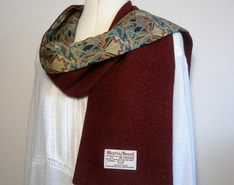 Scarf - Harris tweed scarf , lined with Liberty of London fabric.